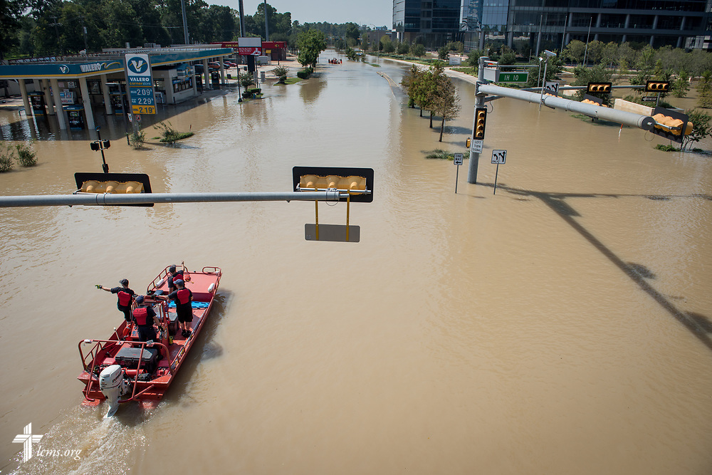A search boat traverses flooding from Hurricane Harvey on Friday, Sept. 1, 2017, in Houston, Texas. LCMS Communications/Erik M. Lunsford