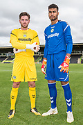 Forest Green Rovers goalkeeper James Montgomery and Forest Green Rovers goalkeeper Robert Sanchez(1) wearing the new kit for the 2018/19 season during the 2018/19 official team photocall for Forest Green Rovers at the New Lawn, Forest Green, United Kingdom on 30 July 2018. Picture by Shane Healey.