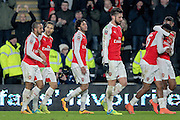 The Arsenal players celebrate their fourth goal of the evening. 4-0 during the The FA Cup fifth round match between Hull City and Arsenal at the KC Stadium, Kingston upon Hull, England on 8 March 2016. Photo by Mark P Doherty.