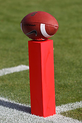 PALO ALTO, CA - OCTOBER 06: General view of a college football on top of a goal line pylon before the game between the Stanford Cardinal and the Arizona Wildcats at Stanford Stadium on October 6, 2012 in Palo Alto, California. The Stanford Cardinal defeated the Arizona Wildcats 54-48 in overtime. (Photo by Jason O. Watson/Getty Images) *** Local Caption ***