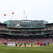 A moving tribute to the Liverpool fans who died at Hillsborough preceded kick off, with Fenway observing a minute's silence while 96 red balloons were released into the Boston sky before the Liverpool Vs AS Roma friendly pre season football match at Fenway Park, Boston. USA. 23rd July 2014. Photo Tim Clayton