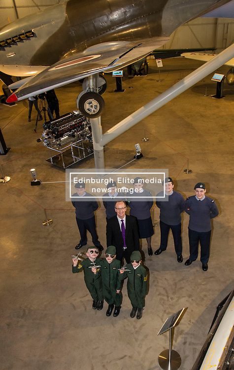 Pictured: Corporal Fraser Munro, Cadet Michael Fraser, Flight Sergeant Hannah Munro, Cadet Gregor McLintock and Cadet Harrison Woolley from 132 squadron Air Cadet Corp North Berwick, Gordon Rintool, Director of Scottish National Museums, Ritchie (6), Arabella (7) and Hannah (6)<br /> <br /> <br /> The redeveloped National Museum of Flight at East Fortune has undergone a  £3.6 million refurbishment and now has aeroplanes including a Spitfire, a Harrier Jump Jet and a Tornado T-3 on display.    (c) Ger Harley, EEm 22 March 2016