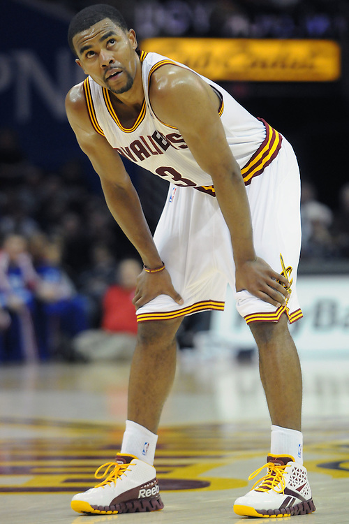 Feb. 27, 2011; Cleveland, OH, USA; Cleveland Cavaliers point guard Ramon Sessions (3) rests during a free throw during the second quarter against the Philadelphia 76ers at Quicken Loans Arena. Mandatory Credit: Jason Miller-US PRESSWIRE