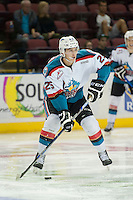 KELOWNA, CANADA - SEPTEMBER 5: Cal Foote #25 of Kelowna Rockets skates with the puck against the Prince George Cougars on September 5, 2015 during the first pre-season game at Prospera Place in Kelowna, British Columbia, Canada.  (Photo by Marissa Baecker/Shoot the Breeze)  *** Local Caption *** Cal Foote;