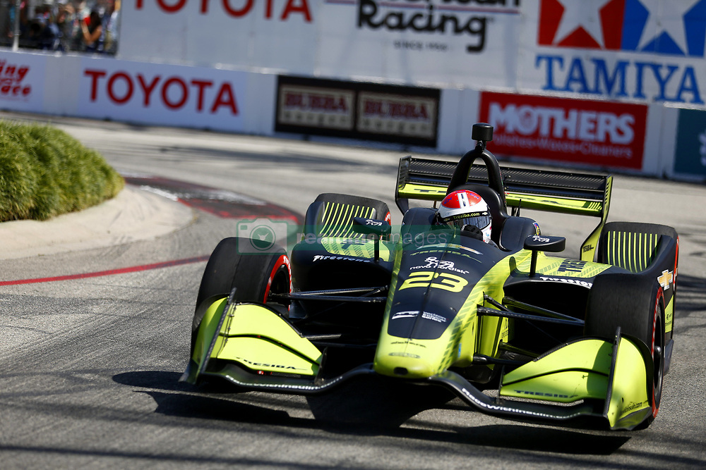 April 13, 2018 - Long Beach, California, United States of America - April 13, 2018 - Long Beach, California, USA: Charlie Kimball (23) takes to the track to practice for the Toyota Grand Prix of Long Beach at Streets of Long Beach in Long Beach, California. (Credit Image: © Justin R. Noe Asp Inc/ASP via ZUMA Wire)