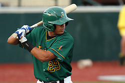11 August 2012:  Jesse Olivar bats during a Frontier League Baseball game between the River City Rascals and the Normal CornBelters at Corn Crib Stadium on the campus of Heartland Community College in Normal Illinois.  The CornBelters take this game in 9 innings 7 - 2 with a 5 run 2nd inning.
