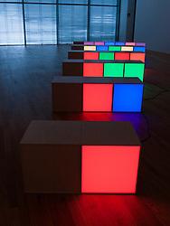 Modern art installation called 6 Chains Permutation B by Angela Bulloch at the Bonn Art Museum or Kunstmuseum Bonn