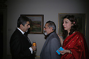 Sonny Mehta, Sir Vidia and Lady Naipaul. Everyman's Centenary Party. The Fine Rooms. Royal Academy. London. 15 February 2006. dddONE TIME USE ONLY - DO NOT ARCHIVE  © Copyright Photograph by Dafydd Jones 66 Stockwell Park Rd. London SW9 0DA Tel 020 7733 0108 www.dafjones.com