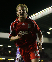 Photo: Paul Thomas.<br /> Liverpool v Toulouse. UEFA Champions League Qualifying. 28/08/2007.<br /> <br /> Dirk Kuyt of Liverpool celebrates his goal.