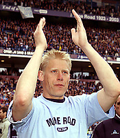 Photo Aidan Ellis.<br />Manchester City v Southampton (FA Barclaycard Premiership).11/05/2003.<br />Peter Schmeichel at the end of the game and who has now retired.