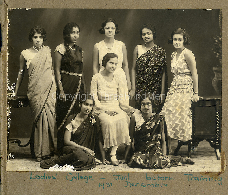 Left to Right standing: Miss Nellie Moses, Nita Proctor, Jinx de Kretser, not known, and Mavis Sansoni.<br />