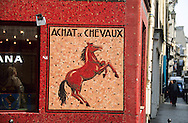 France. Paris. 1st district. horse ceramic  15 rue vieille du temple 75004     former horse butcher shop