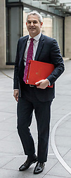 © Licensed to London News Pictures. 13/01/2019. London, UK. Secretary of State for Exiting the European Union Stephen Barclay arrives at BBC Broadcasting House to appear on The Andrew Marr Show. Photo credit: Rob Pinney/LNP