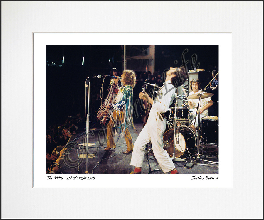 The Who - An affordable archival quality matted print ready for framing at home.<br /> Ideal as a gift or for collectors to cherish, printed on Fuji Crystal Archive photographic paper set in a neutral mat (all mounting materials are acid free conservation grade). <br /> The image (approx 6&quot;x8&quot;) sits within a titled border. The outer dimensions of the mat are approx 10&quot;x12&quot;.