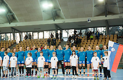 Team Slovenia during handball match between National Teams of Slovenia and Former Yugoslav republic of Macedonia in Round #3 of EHF European Women Championship Qualifications, on March 10, 2016 in Arena Luknja, Maribor, Slovenia. Photo by Vid Ponikvar / Sportida