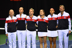 February 9, 2019 - Liege, BELGIQUE - LIEGE, BELGIUM - FEBRUARY 9 : Julien BENNETEAU captain of France, Caroline GARCIA, Alize CORNET, Pauline PARMENTIER, Kristina MLADENOVIC, Fiona FERRO pictured during the opening ceremony before the World Group First Round Fed Cup Game between Belgium and France on February 09, 2019 in Liege, Belgium, 9/02/2019 (Credit Image: © Panoramic via ZUMA Press)