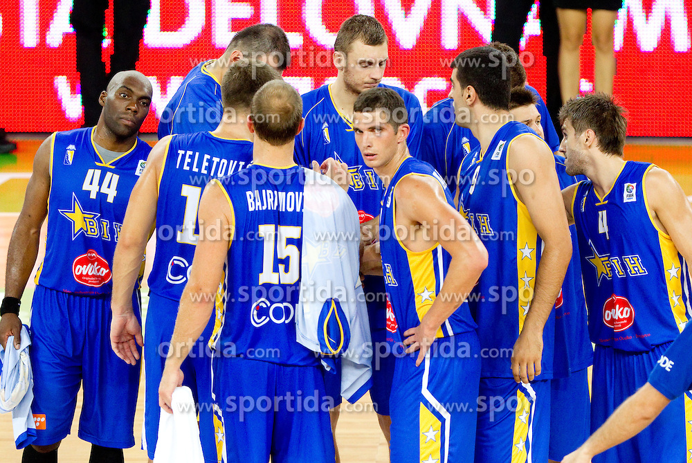 Players of Bosna and Hercegovina during friendly basketball match between National teams of Slovenia and Bosnia and Hercegovina for third place at Adecco Ex-Yu Cup 2011 as part of exhibition games before European Championship Lithuania 2011, on August 9, 2011, in Arena Stozice, Ljubljana, Slovenia. Slovenia defeated BiH 59-52. (Photo by Vid Ponikvar / Sportida)