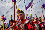 Young men dress as Roman legionaries for the 174-year-old Iztapalapa Passion of the Christ procession. Upwards of 10 000 actors will participate in the event.