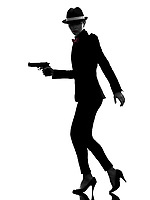 one stylish  woman in suit holding gun in silhouette on white background