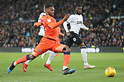 Millwall defender Mahlon Romeo stretches for the ball during the EFL Sky Bet Championship match between Derby County and Millwall at the Pride Park, Derby, England on 20 February 2019.