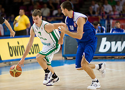 Goran Dragic (11) of Slovenia vs Uros Tripkovic of Serbia during the basketball match at 1st Round of Eurobasket 2009 in Group C between Slovenia and Serbia, on September 08, 2009 in Arena Torwar, Warsaw, Poland. Slovenia won 84:76. (Photo by Vid Ponikvar / Sportida)