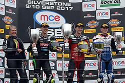 #4 Dan Linfoot Honda Racing MCE British Superbike Championship #7 Michael Laverty McAMS Yamaha MCE British Superbike Championship #27 Jake Dixon RAF Regular & Reserves Kawasaki MCE British Superbike Championship Podium