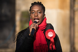 London, UK. 30 November, 2019. Florence Eshalomi, Labour Party candidate, speaks at a general election hustings for the Vauxhall constituency outside St Mark's church. Topics discussed included the lack of social housing provision, knife crime, the suitability of the candidates to be Prime Minister and airport expansion.