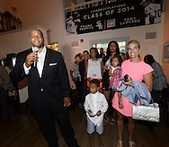 COOPERSTOWN, NY - JULY 26:  2014 Hall of Fame inductee Frank Thomas greets invited guests during a private reception held at Templeton Hall in Cooperstown, New York on July 26 2014.