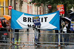 © Licensed to London News Pictures. 24/09/2019. London, UK. Brexit protesters outside the UK Supreme Court in London. Last week the court heard an appeal in the multiple legal challenges against the Prime Minister Boris Johnson's decision to prorogue Parliament ahead of a Queen's speech on 14 October. The court will rule on the legality of Boris Johnson's decision to suspend Parliament at 10.30am. Photo credit: Dinendra Haria/LNP