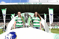 24/05/15 SCOTTISH PREMIERSHIP<br /> CELTIC v INVERNESS CT<br /> CELTIC PARK - GLASGOW<br /> Thile (left) and Live Deila, daughters of Celtic manager Ronny Deila bring the Scottish Premiership trophy onto the park