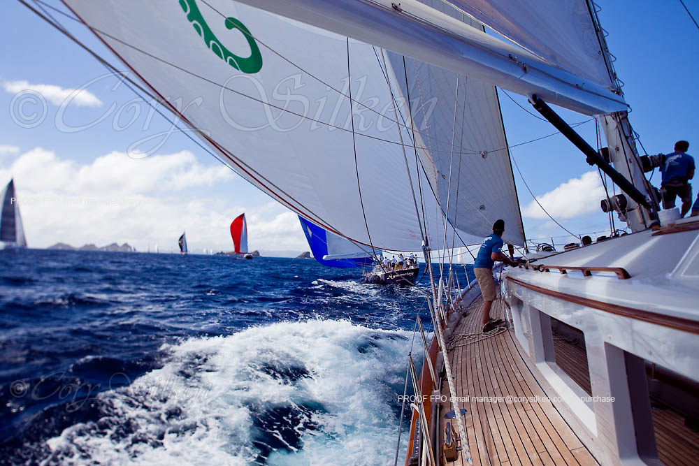 Sailing onboard Axia during the 2010 St. Barth's Bucket superyacht regatta, race 2.