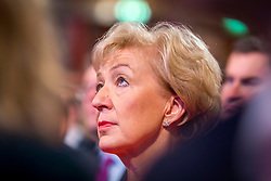 © Licensed to London News Pictures. 03/10/2018. Birmingham, UK. Andrea Leadsom watches the Prime Minister Theresa May gives her speech to her party on the final day of the Conservative Party Conference being held at the International Convention Centre in Birmingham. Photo credit: Andrew McCaren/LNP