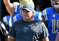 September 1, 2018 - Pasadena, CA, U.S. - PASADENA, CA - SEPTEMBER 01: UCLA head coach Chip Kelly leads the team onto the field during an college football game between the Cincinnati Bearcats and the UCLA Bruins on September 01, 2018, at the Rose Bowl in Pasadena, CA. (Photo by Chris Williams/Icon Sportswire) (Credit Image: © Chris Williams/Icon SMI via ZUMA Press)