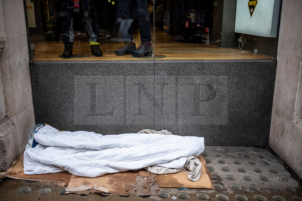 FILE IMAGE © Licensed to London News Pictures. 21/10/2019. London, UK. Empty bed in Southampton Street off the Strand. Pictures highlight the reality of homelessness in Westminster taken during the build up of Brexit and the General election just a few hundreds yards from Parliament and Downing Street. Photo credit: Alex Lentati/LNP