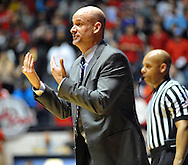 "Mississippi Rebels head coach Andy Kennedy reacts against Tennessee at the C.M. ""Tad"" Smith Coliseum in Oxford, Miss. on Saturday, February 21, 2015. Mississippi won 59-57. (AP Photo/Oxford Eagle, Bruce Newman)"