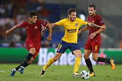 September 12, 2017 - Rome, Italy - Saul Niguez of Atletico between Diego Perotti of Roma and Kevin Strootman of Roma  during the UEFA Champions League Group C football match between AS Roma and Atletico Madrid on September 12, 2017 at the Olympic stadium in Rome. (Credit Image: © Matteo Ciambelli/NurPhoto via ZUMA Press)