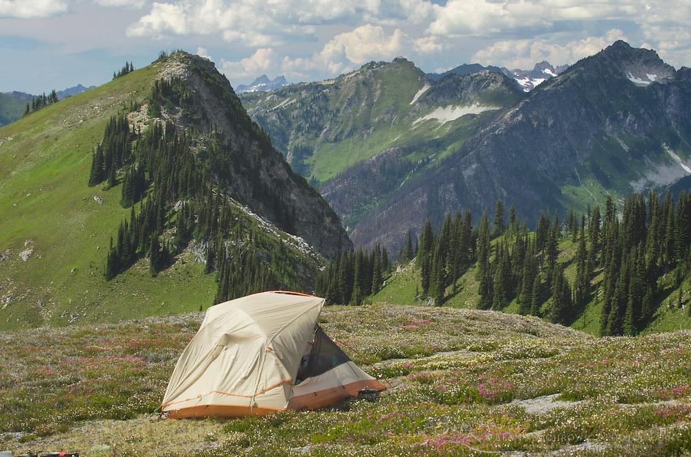 North Cascades backcountry camp, Glacier Peak Wilderness Washington
