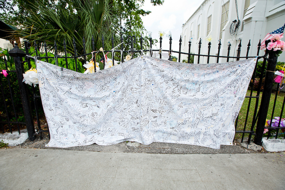 A sheet covered with condolences to the victims and families of the Emanuel AME Church shooting in Charleston, South Carolina.