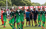 Team Slovenia celebrates their victor in overtime against Canada during a CONCACAF boys under-15 championship soccer game, Saturday, August 10, 2019, in Bradenton, Fla. Slovenia defeated Canada in 2-1 in overtime and advanced to the finals against Portugal. (Kim Hukari/Image of Sport)