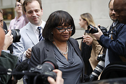 © Licensed to London News Pictures. 02/05/2017. London, UK. Shadow Home Secretary DIANE ABBOTT seen leaving Milbank Studios in Westminster after an appearance on the Daily Politics program. DIANE ABBOTT made a number of costing errors during a radio interview about  a Labour election pledge on increased policing numbers.  Photo credit: Peter Macdiarmid/LNP