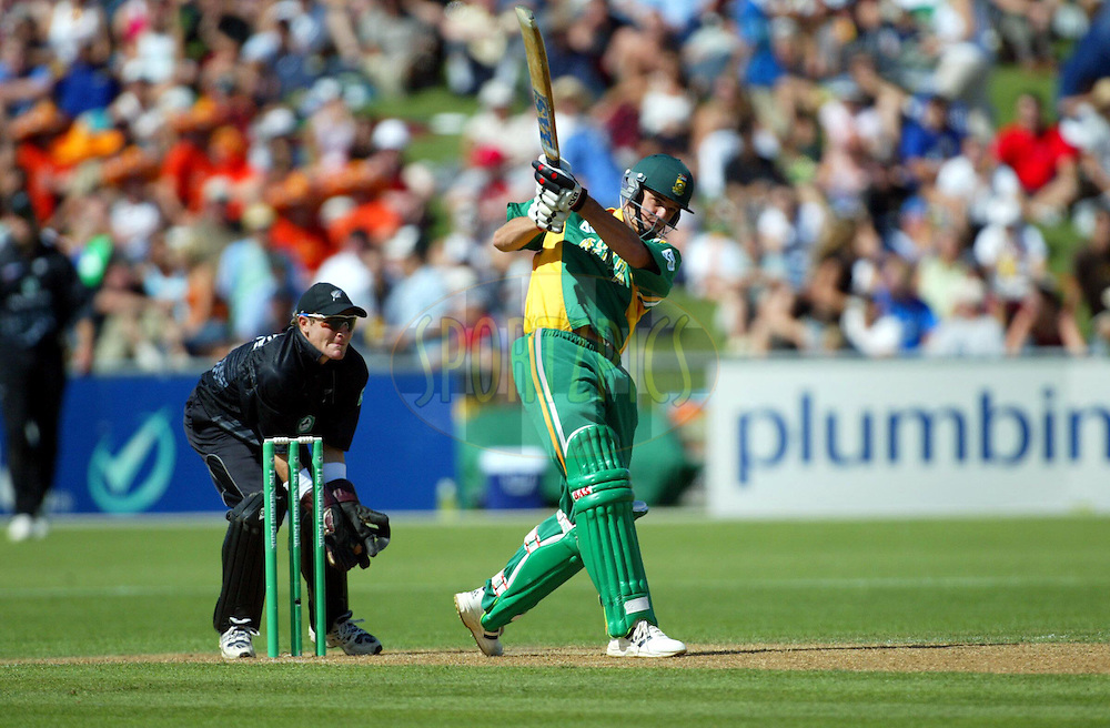 17  March 2004. New Zealand vs South Africa International one day cricket at McLean Park, Napier, New Zealand. Match 6 in series of 6..Albert Morkel..Pic: Andrew Cornaga/Photosport