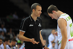 Gasper Potocnik, assistant coach of Slovenia talks to Goran Dragic of Slovenia during friendly match between National Teams of Slovenia and Greece before World Championship Spain 2014 on August 17, 2014 in Kaunas, Lithuania. Photo by Robertas Dackus / Sportida.com