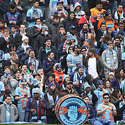 NEW YORK, NEW YORK - April 12: New York City FC fans in action during the New York City FC Vs San Jose Earthquakes regular season MLS game at Yankee Stadium on April 1, 2017 in New York City. (Photo by Tim Clayton/Corbis via Getty Images)