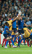London, Great Britain, France secure the high ball, during a Pool D game,     France vs Romania. 2015 Rugby World Cup. Venue. The Stadium Queen Elizabeth Olympic Park. Stratford. East London. England,, Wednesday  23/09/2015. <br /> [Mandatory Credit; Peter Spurrier/Intersport-images]