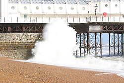 © Licensed to London News Pictures. 14/09/2015. Brighton, UK. Brighton and the South Coast is being battered by strong winds and powerful waves. Today September 14th 2015. Photo credit : Hugo Michiels/LNP