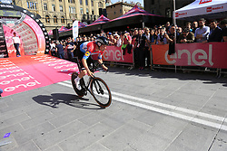 Luxembourg Champion Bob Jungels (LUX) Deceuninck-Quick Step powers down the start ramp of Stage 1 of the 2019 Giro d'Italia, an individual time trial running 8km from Bologna to the Sanctuary of San Luca, Bologna, Italy. 11th May 2019.<br /> Picture: Eoin Clarke | Cyclefile<br /> <br /> All photos usage must carry mandatory copyright credit (© Cyclefile | Eoin Clarke)