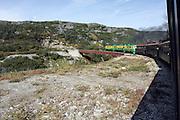 Alaska, USA. The White Pass and Yukon Route from Skagway to Whitehorse. Disused steel bridge