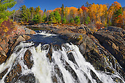 Aux Sables River flows into a waterfall  near Massey <br /> Chutes Provincial Park<br /> Ontario<br /> Canada