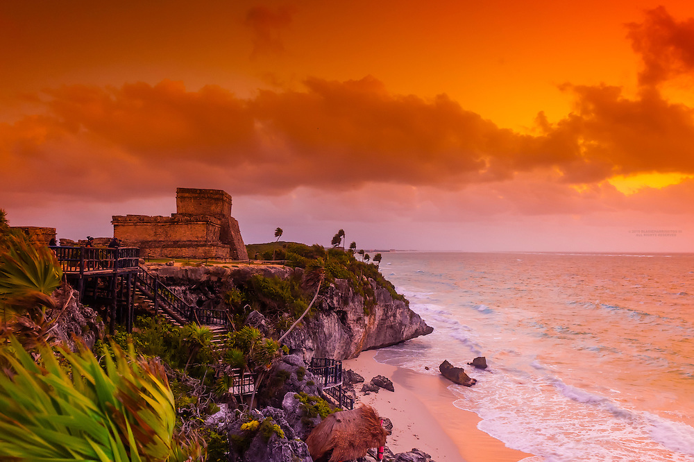 El Castillo (The Castle at Tulum, which is the site of a Pre-Columbian Maya walled city serving as a major port for Cobá on the Caribbean Sea, Riviera Maya, Mexico.
