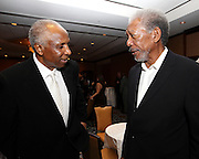 ATLANTA, GA - MAY 14:  Hall of Famer Frank Robinson (left) talks with Beacon Award recipient Morgan Freeman at the MLB Beacon Awards Banquet at the Omni Hotel on May 14, 2011 in Atlanta, Georgia.  (Photo by Mike Zarrilli/Getty Images)